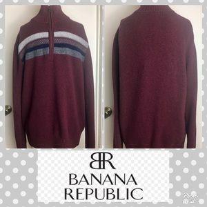 Men's M Banana Republic Wool Sweater ZIP Neck